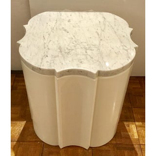 Modern White Marble Quatrefoil Side Tables Pair Prototypes Preview