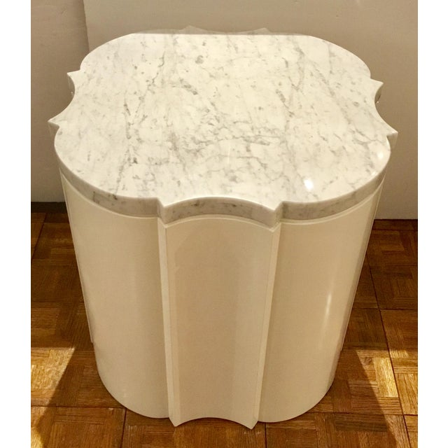 Stylish modern white marble quatrefoil side tables pair prototypes, gray vein, wood base