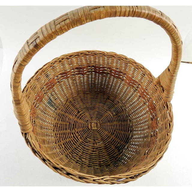 1930s 1930s Boho Chic Woven Reed Basket For Sale - Image 5 of 7