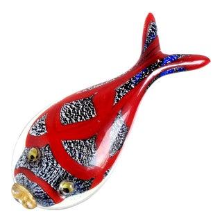 AVeM Murano Vintage Cobalt Blue Red Silver Flecks Italian Art Glass Fish Paperweight Sculpture For Sale