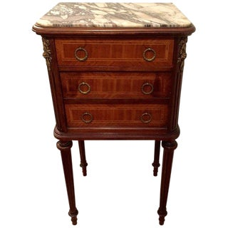 Handsome French Mahogany and Marble End Table
