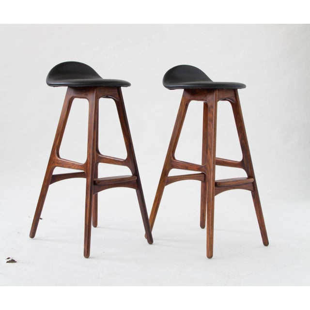 Erik Buch for O.D. Møbler Rosewood & Leather Bar Stools- A Pair - Image 2 of 6