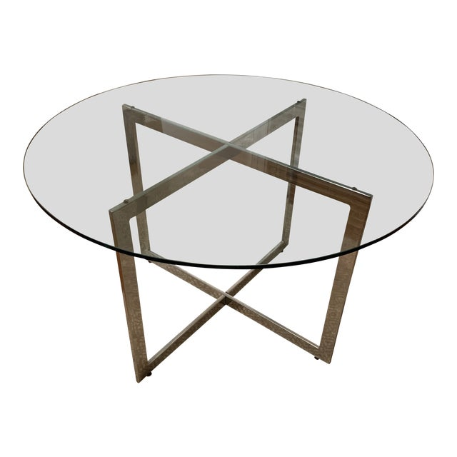 Vintage Mid-Century Modern Glass Top Dining Table With Chrome Metal Base