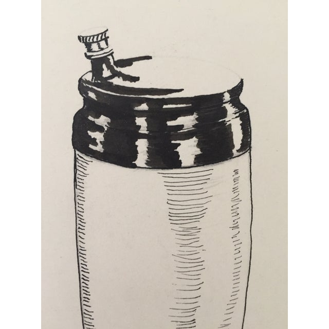 Mid Century Cocktail Shaker Pen & Ink Drawing - Image 3 of 4