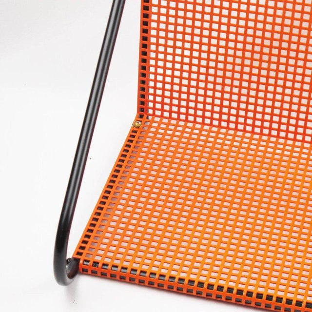 Mathieu Mategot Style Orange Perforated Metal Wall Bookshelf For Sale - Image 4 of 8