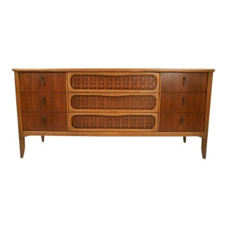 Mid-century Modern Nine-drawer Dresser With Woven Front by Lane Furniture For Sale