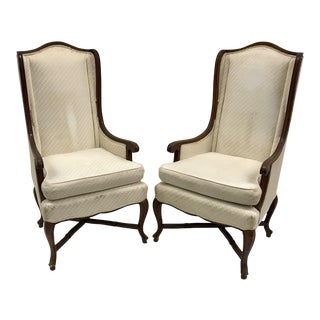 Vintage High Wingback Chairs - a Pair