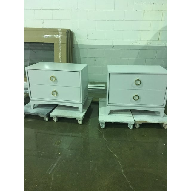 Mid-Century Modern Light Gray Walnut Nightstands - a Pair For Sale In Boston - Image 6 of 7