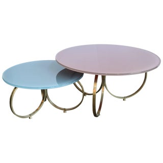 Custom Brass Coffee Tables With Reverse Painted Glass Top - Set of 2 For Sale