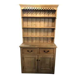 Antique Pine Welsh Display Cabinet For Sale