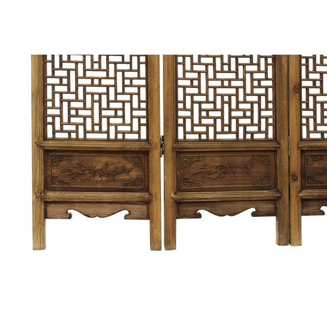 Chinese Vintage Finish Geometric Pattern Wood Panel Screen For Sale - Image 4 of 10