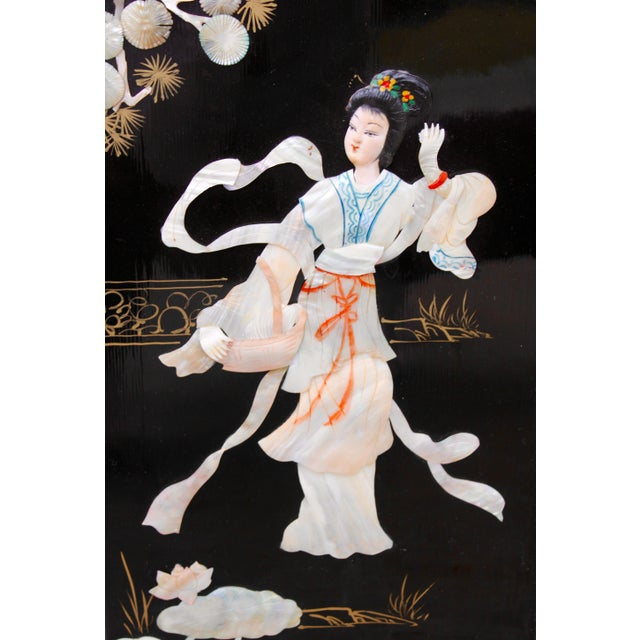 Mid 20th Century Asian Wall Panels Depicting Chinese Performers or Geishas For Sale - Image 5 of 13