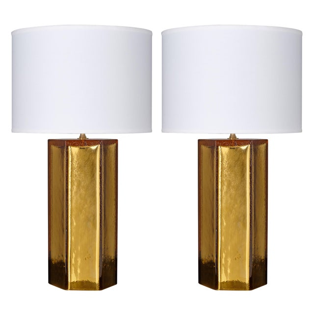 Gold Leaf and Amber Murano Glass Lamps For Sale - Image 10 of 10