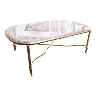 Mid-Century Glass Top Coffee Table with Classical Gilt Metal Frame For Sale