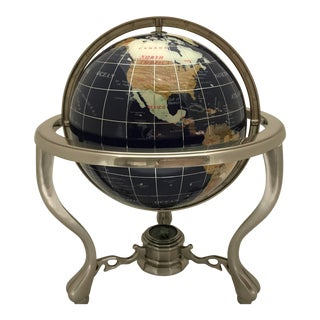 Modern Lapis and Gemstone Globe Brushed Chrome Stand with Compass For Sale