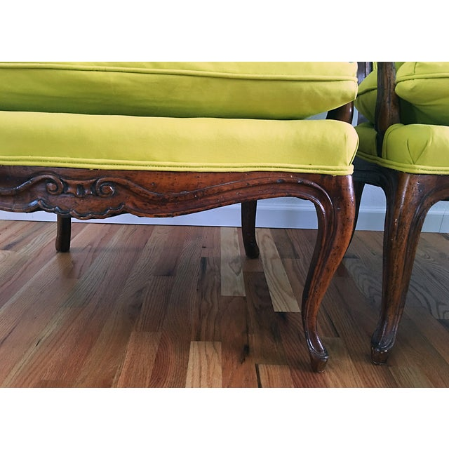 Vintage French Bergere Down Stuffed Chairs - Pair - Image 9 of 9