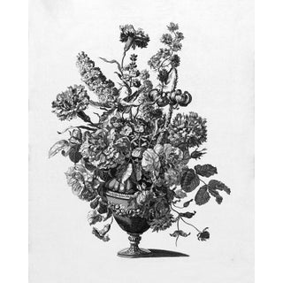 French Modern Floral in Black and White Print For Sale