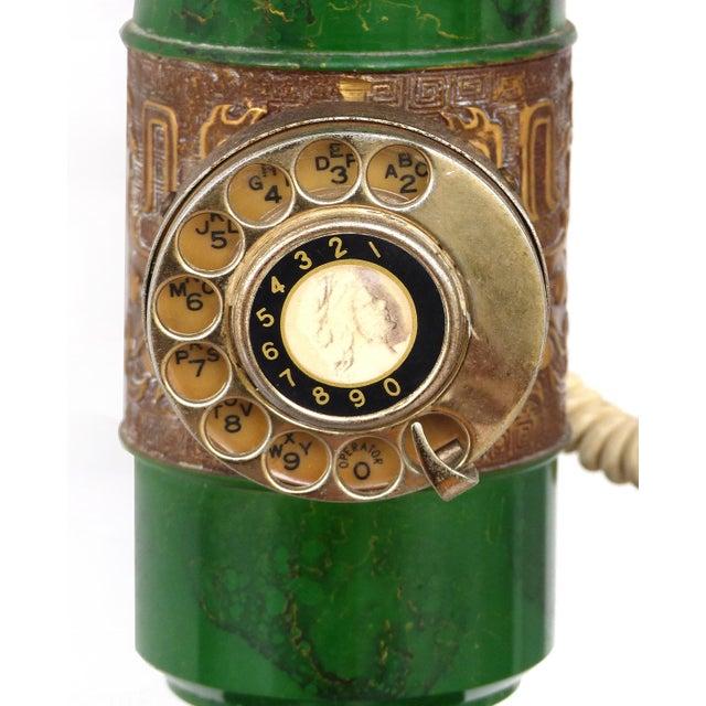 Boho Chic Retro Standing Floor Green Enamel & Brass Column Telephone For Sale - Image 3 of 8