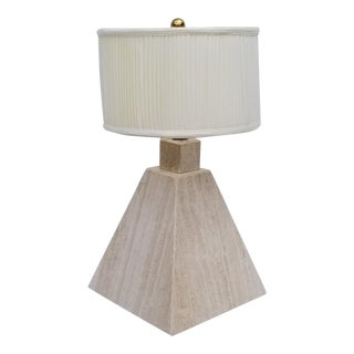 1980s Vintage Italian Signed Pyramid - Geometric Shape Travertine Table Lamp For Sale