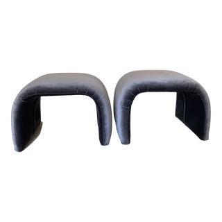 Gray Velvet Karl Springer Style Modern Waterfall Benches- a Pair For Sale