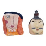 Image of 1980s Vintage Japanese Handmade Pottery Art - a Pair For Sale