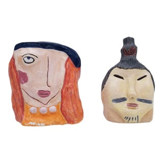 1980s Vintage Japanese Handmade Pottery Art - a Pair For Sale