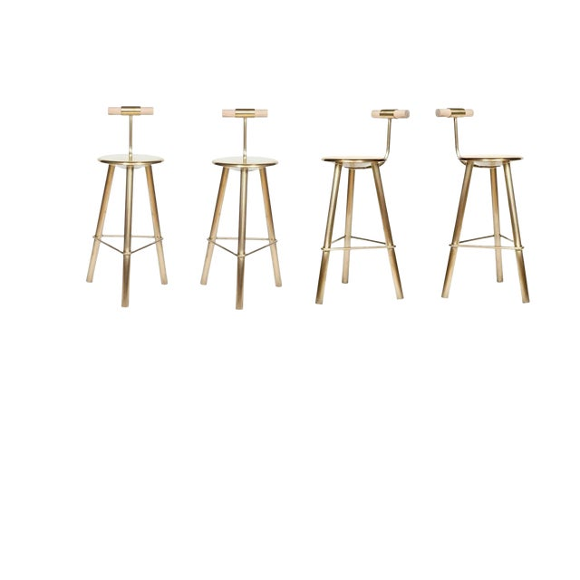 Customizable Set of 4 Erickson Aesthetics Brass Stool For Sale