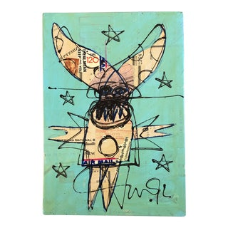 """Original Contemporary Wayne Cunningham Abstract """"Monster"""" Mixed Media Collage Painting For Sale"""