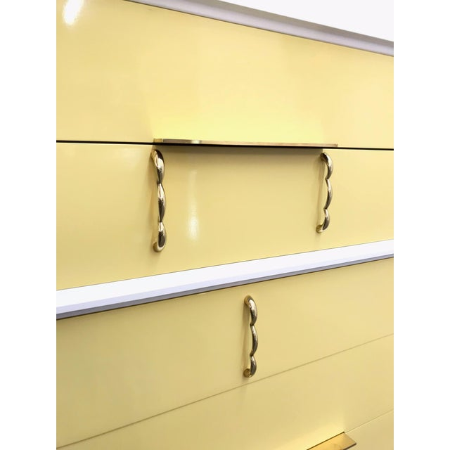 1970s Mid Century Modern White Yellow Lacquered Highboy Dresser For Sale - Image 4 of 9