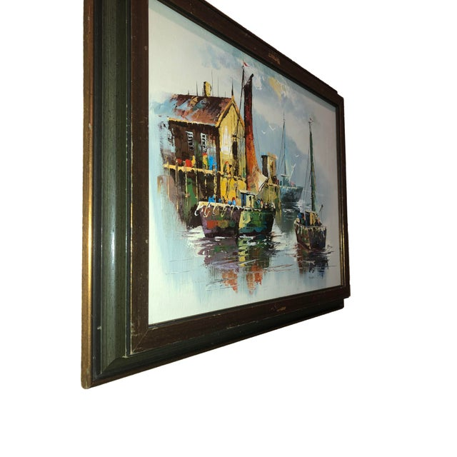 Paint Peaceful Mid Century Painting of Sailboats For Sale - Image 7 of 9