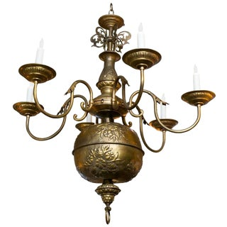 Large French Embossed Brass Floral Repousse' Six-Arm Chandelier, circa 1900