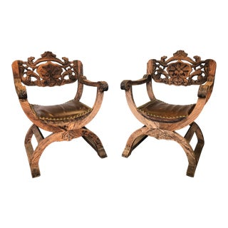 19th Century French Renaissance Style Savonarola Chairs- A Pair For Sale