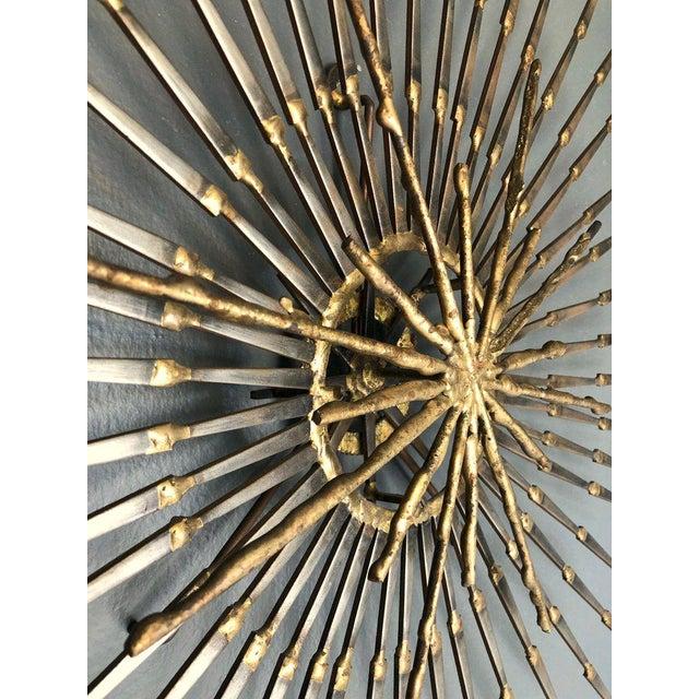 Metal Ron Schmidt Large Brutalist Sunburst With Starburst Nail Art Wall Sculpture For Sale - Image 7 of 12