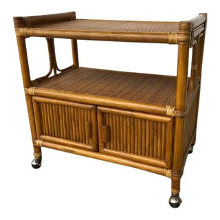1950s Boho Chic Bamboo and Rattan Bar Cart For Sale