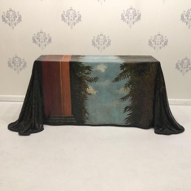1980s Realism Draped Leopard Painting Console Table For Sale - Image 10 of 11
