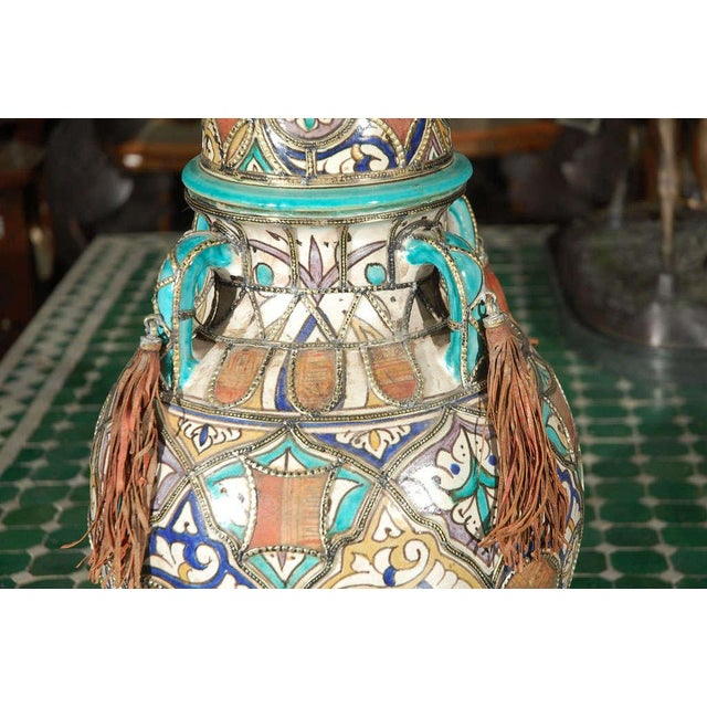 Antique Moroccan Ceramic Jar With Lid For Sale - Image 4 of 7