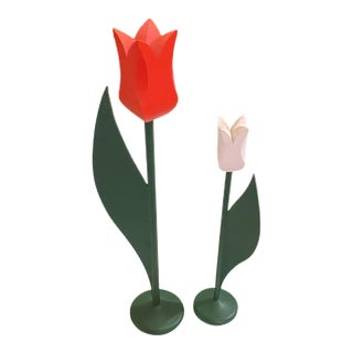 Vintage Danish Modern Wooden Tulips - a Pair For Sale