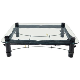 Large Oversize Thick Glass Top Rectangle Coffee Table with Singing Birds For Sale