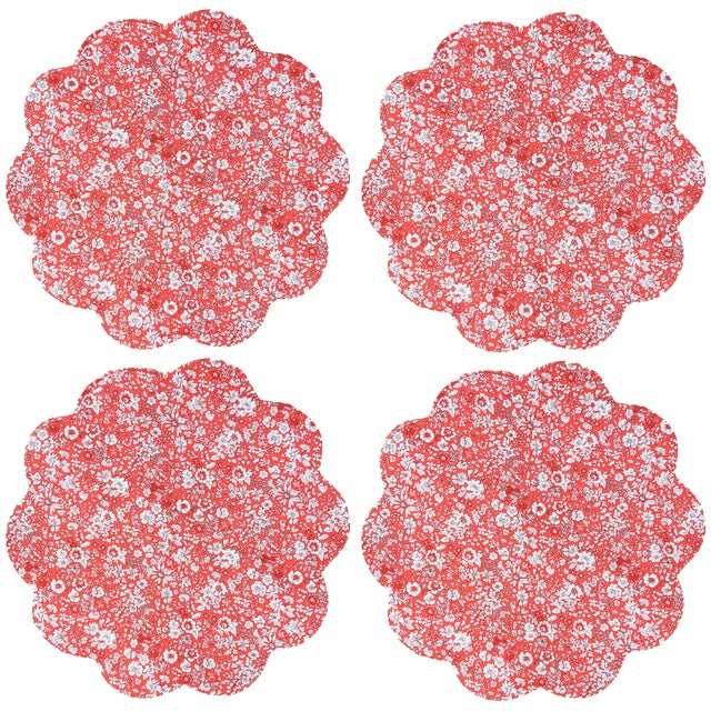Traditional Liberty of London Red Floral Scalloped Placemats and Nutcracker Dinner Napkins - Service for 4 For Sale - Image 3 of 6