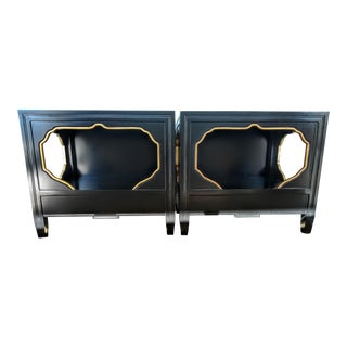 Black Side Tables With Gold Trim - A Pair For Sale