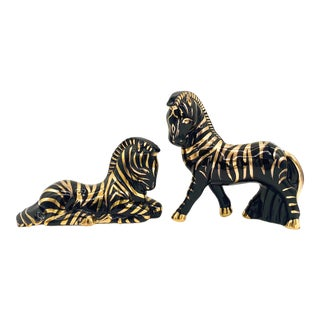 Mid Century Modern Black and Gold Zebra Figurines- a Pair For Sale