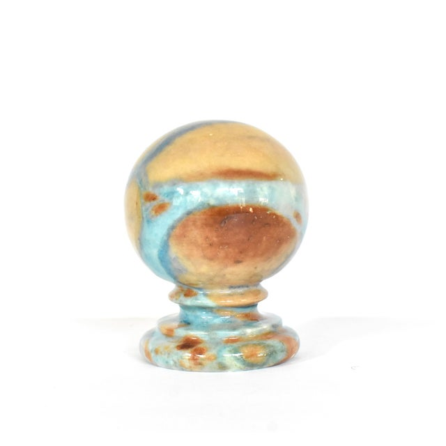 Stone Vintage Italian Duccheschi Blue and Tan Alabaster Round Paper Weight For Sale - Image 7 of 12