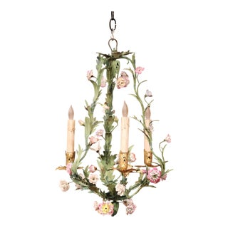 20th Century French Three-Light Chandelier With Porcelain Flowers and Leaves For Sale