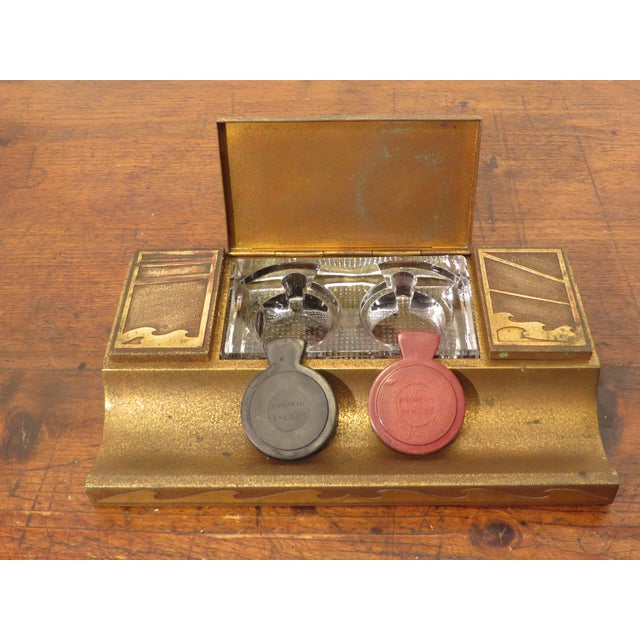 Early 20th Century Antique Art Deco Silver Crest Bronze Desk Inkwell For Sale - Image 5 of 11