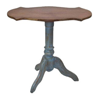 Brazilian Style Teak Tripod Pedestal Table For Sale
