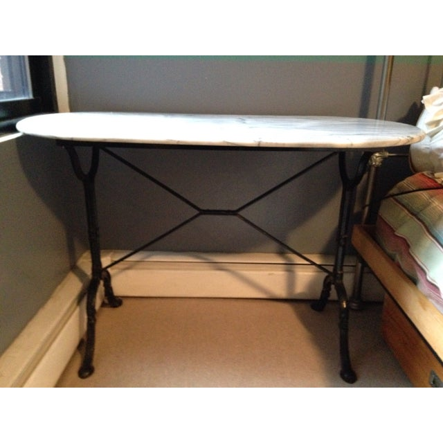 Antique French Marble & Iron Bistro Console Table - Image 2 of 5