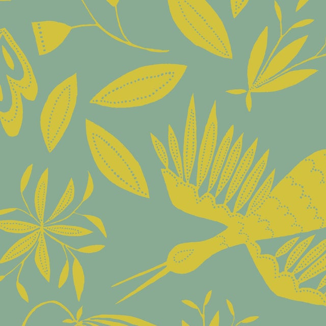 Julia Kipling Otomi Grand Wallpaper, 3 Yards, Mountain Glow For Sale