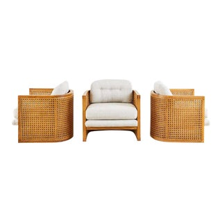 Set of Three Caned Oak Barrel Lounge Chairs For Sale