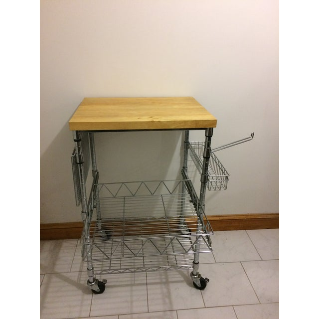2000 - 2009 Kitchen Cart With Wood Butcher Block Top For Sale - Image 5 of 13