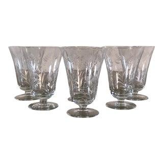 Vintage 1950s Floral Footed Glass Goblets, Set of 6 For Sale